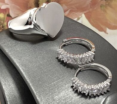 NO RESERVE Lot of Diamonique Hoop Earrings & High Podeshed Ring Size 7