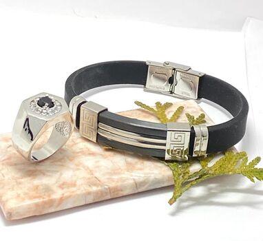 NO RESERVE Lot of Men's Two-Tone  Bracelet & 1.47ctw Black & White Sapphire Ring Size 7