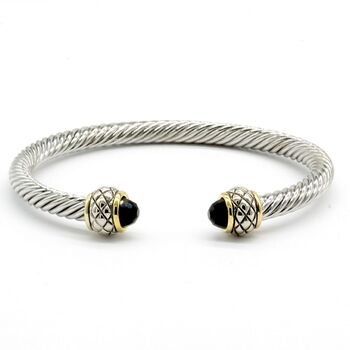 NO RESERVE Onyx Twisted Cable Bangle Cuff Bracelet