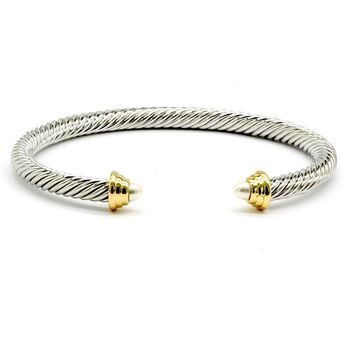 NO RESERVE Pearl Twisted Cable Bangle Cuff Bracelet
