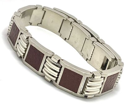 "NO RESERVE SHR Stainless Steel Leather Bracelet 8 1/2"" Long"