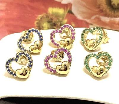 NO RESERVE Solid .925 Sterling Silver, 0.75ctw Multi-Color Stone Lot of 3 Pair of Earrings