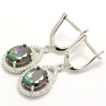 NO RESERVE Solid .925 Sterling Silver, 3.00ctw White Sapphire & Green Mystic Topaz Earrings