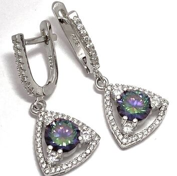 NO RESERVE Sterling Silver Genuine Mystic Topaz Earrings