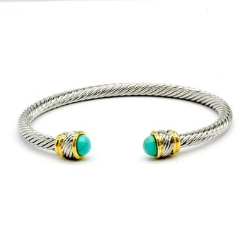 NO RESERVE Turquoise Twisted Cable Bangle Cuff Bracelet