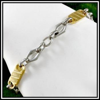 """NO RESERVE Two Tone Modern Men's Bracelet 8"""" Long"""