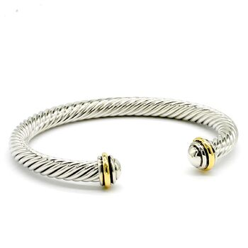 NO RESERVE Two Tone Twisted Cable Bangle Cuff Bracelet