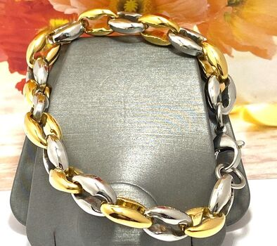 NO RESERVE Two-Tone Stainless Steel Men's Bracelet