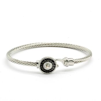 NO RESERVE White Sapphire Twisted Cable Bangle Cuff Bracelet