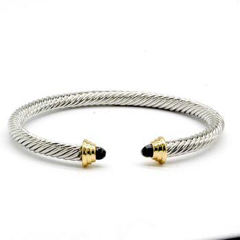 Onyx Twisted Cable Bangle Cuff Bracelet