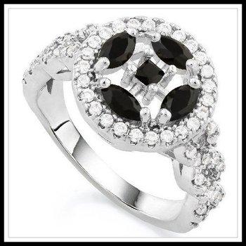 Onyx & White Sapphire Ring size 6
