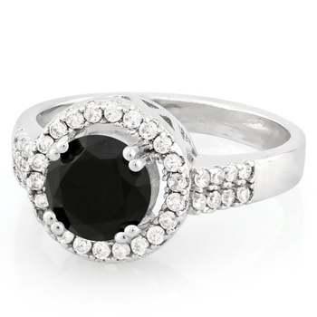 Onyx & White Topaz Ring Size 7
