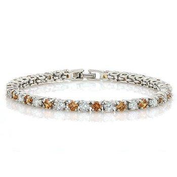 Orange & White Sapphire Fine Jewelry Brass with 3x 14k Gold Overlay Tennis Bracelet