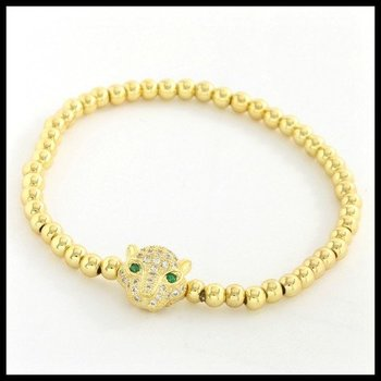 Panther Icon 4mm Ball Stretch Bracelet