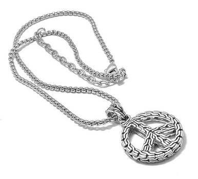 """""""Peace"""" Statement Pendant Necklace w/ Chunky Chain"""