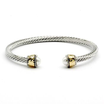 Pearl Twisted Cable Bangle Cuff Bracelet
