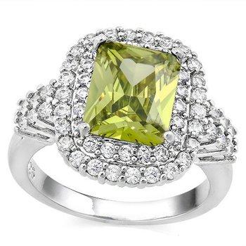 Peridot and White Sapphire Ring Size 7