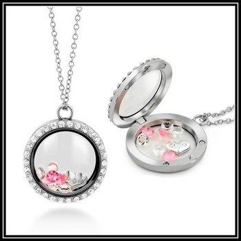 Pink & White Sapphire Locket Necklace