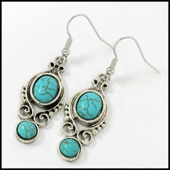 "Pressed Turquoise 2 "" Long Dangles Earrings"