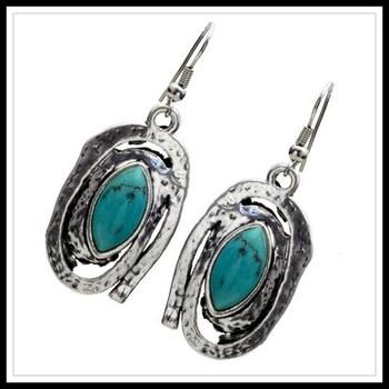 Pressed Turquoise Dangles Earrings