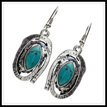 Pressed Turquoise Dangles Earrings