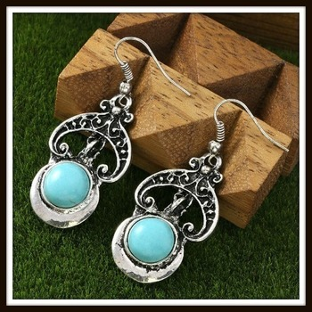 Pressed Turquoise Designer Earrings