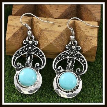 Pressed Turquoise Designer Earrings