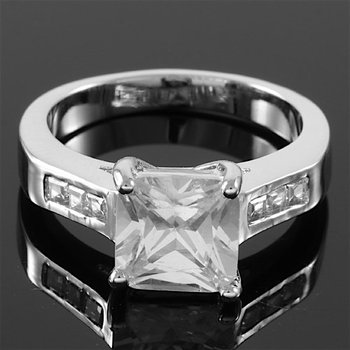 Princess Cut White Topaz Classic Solitaire / Side Princess Cut Engagement Ring Size 7