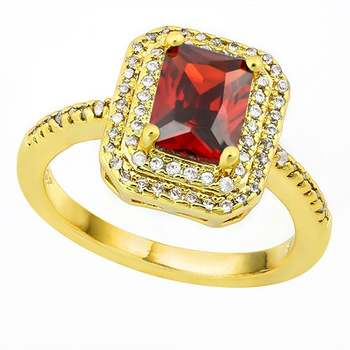 Red and White Italian CZ (AAA) Lead Free Hypoallergenic & Tarnish Free Ring Size 8