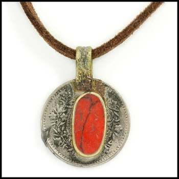 Red Coral Coin Cord Necklace/Choker