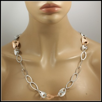 Rose & White Gold over Sterling Silver 29! Grams Necklace