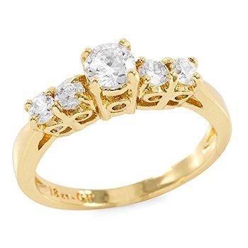 Round Brilliant Cubic Zirconia CZ Engagement Ring, Size 8