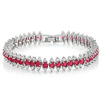 Ruby & White Topaz, Fine Jewelry Brass with 3x14k Gold Overlay Tennis Bracelet