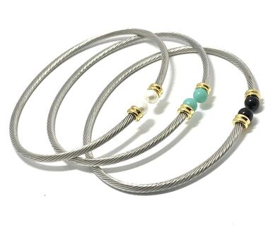 Set of 3 Designer Cable Cuff Bangle Bracelets Two-Tone Turquoise, Spinel & Pearl