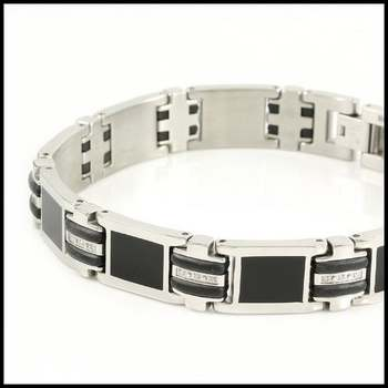 SHR Stainless Steel, 30 Genuine Diamonds & Onyx 9 Inches Long Bracelet