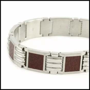 """SHR Stainless Steel Leather 8 Inches Long Bracelet 9 3/4"""""""