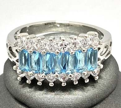 Sky Blue Topaz & White Sapphire Ring