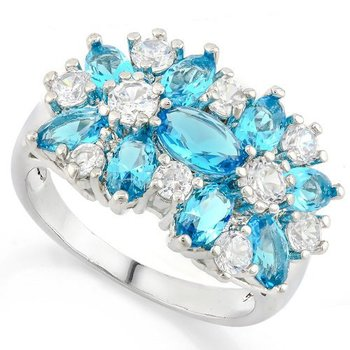 Sky Blue Topaz & White Sapphire Ring Size 7