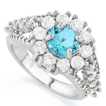 Sky Blue & White Topaz Ring Size 7
