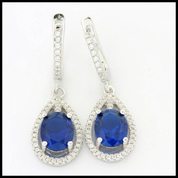 Solid .925 Stering Siler, 2.50ctw Sapphire & (AAA Grade) CZ's Drop Earrings