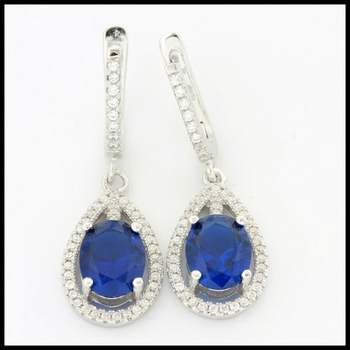 Solid .925 Stering Siler, 2.50ctw Sapphire & (AAA Grade) CZ's Drop Earrings