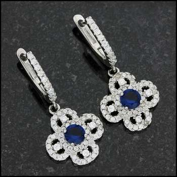 Solid .925 Stering Silver, 0.46ctw Topaz & (AAA Grade) CZ's Earrings