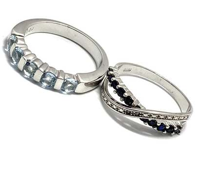 Solid .925 Sterling Silver, 0.01ctw Diamond & 0.75ctw Blue Topaz & 0.35ctw Sapphire Lot of 2 Rings Size 7; 8