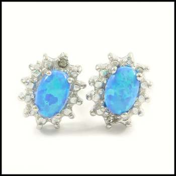 Solid .925 Sterling Silver, 0.01ctw Genuine Diamond & 0.40ctw Blue Opal Earrings