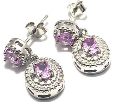 Solid .925 Sterling Silver, 0.01ctw Genuine Diamond & 0.60ctw Pink Topaz Earrings