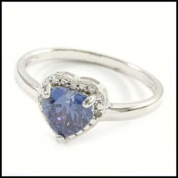Solid .925 Sterling Silver, 0.01ctw Genuine Diamond & 1.30ctw Tanzanite Ring Size 8