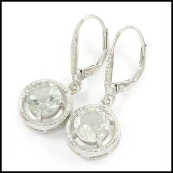 Solid .925 Sterling Silver, 0.01ctw Genuine Diamond & 2.36ctw Green Amethyst Earrings