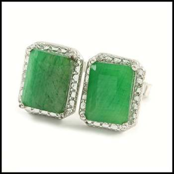 Solid .925 Sterling Silver, 0.01ctw Genuine Diamond & 3.0ctw Emerald Stud Earrings