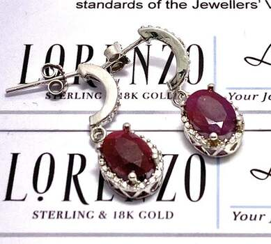 Solid .925 Sterling Silver, 0.01ctw Genuine Diamond & 3.50ctw Ruby Earrings