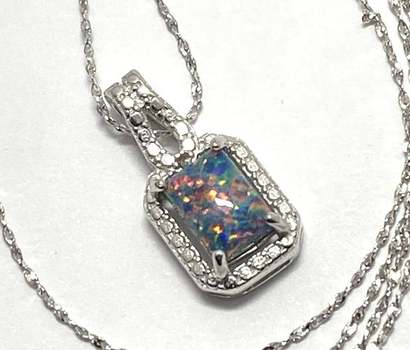 Solid .925 Sterling Silver, 0.01ctw Genuine Diamond & 4x7mm Opal Necklace